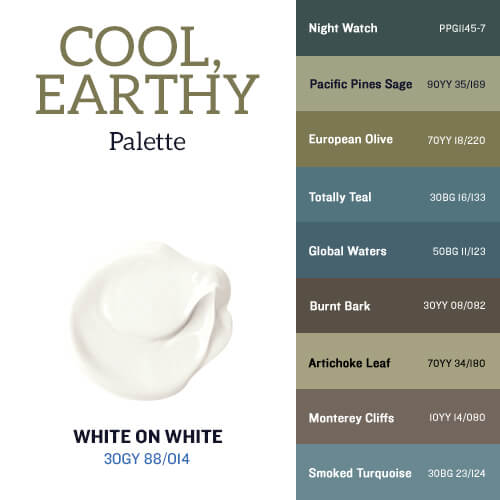 White on White & The Cool, Earthy Palette