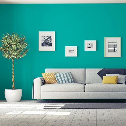 Colores de pintura verde azulado