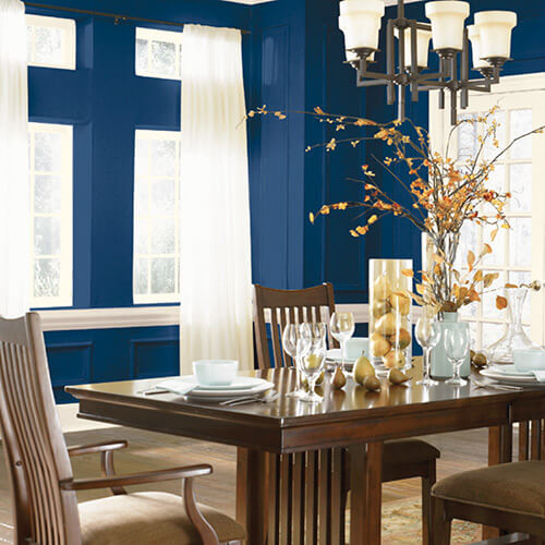 Brilliant Blue Dining Room Color Schemes